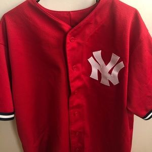 New York Yankees Red Mesh Button Jersey